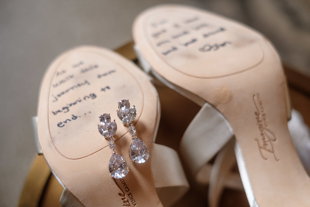 The groom wrote a sweet message to the bride that she was sure to keep close throughout the wedding day.