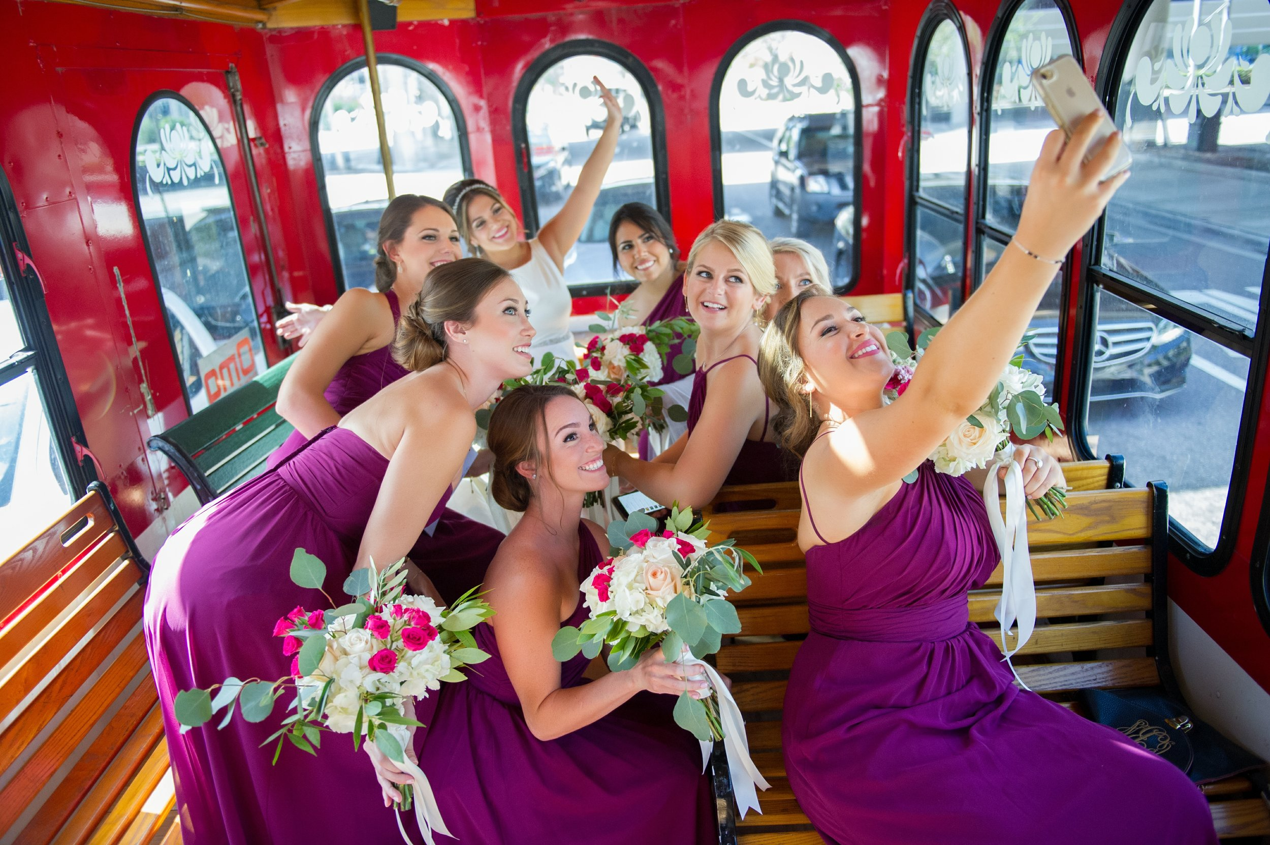 The bride and her bridesmaids made sure to fit in the important things during the special day, like selfies with all your favorite girls!