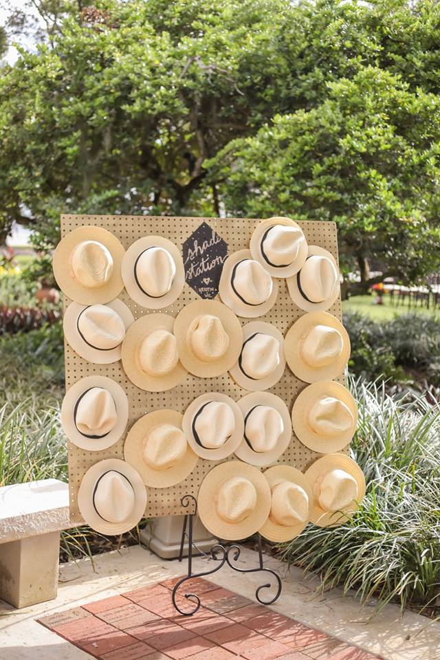 It wouldn't be a 'Cigar City' wedding without a shade station complete with fedoras!