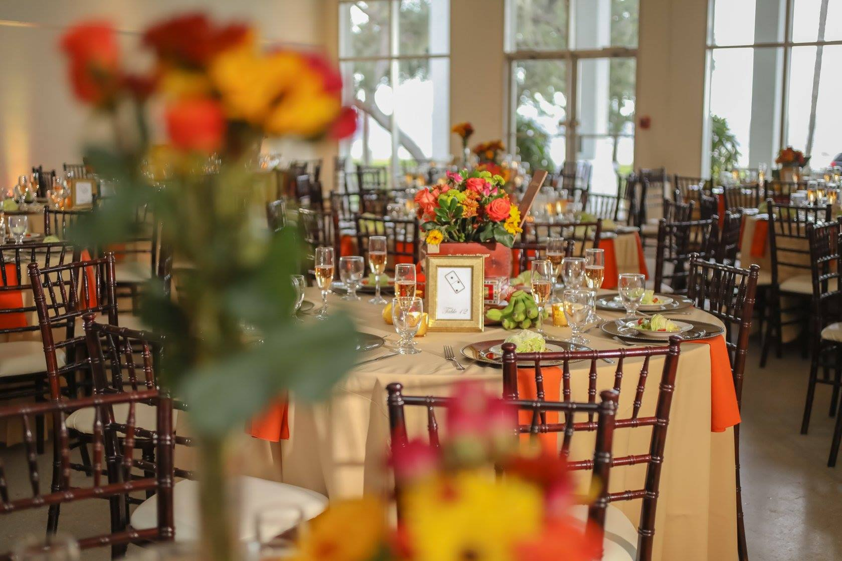 A Florida sunset created the perfect lighting to accent the ballroom.