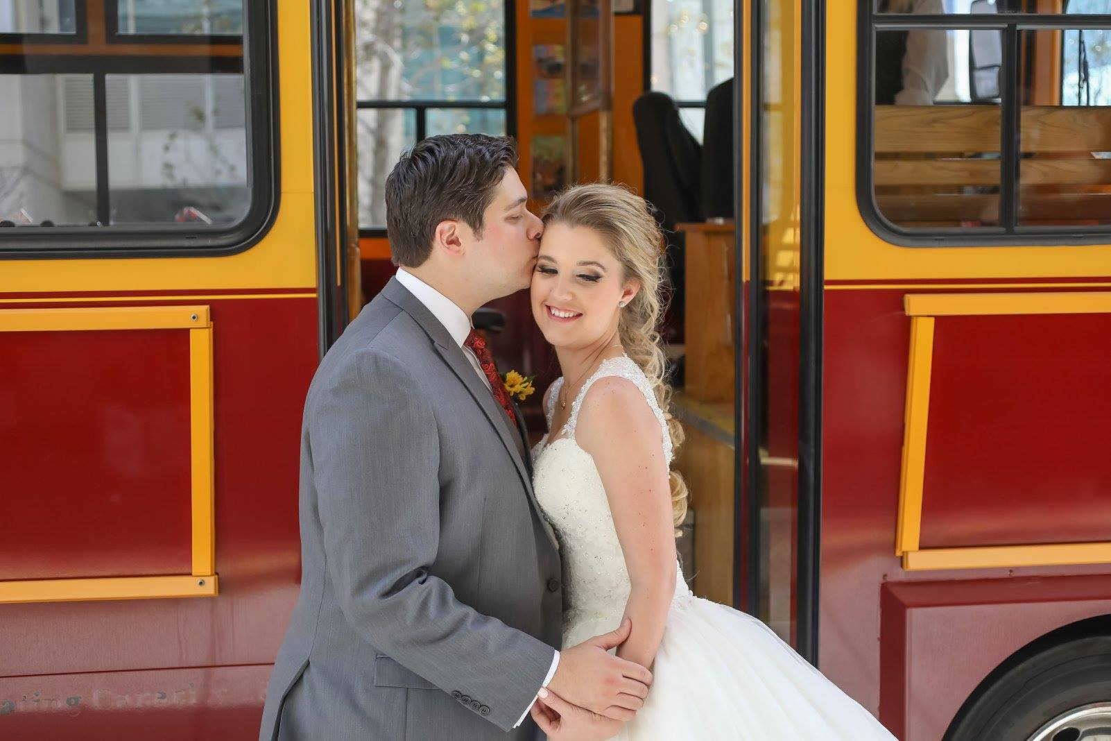 The couple made their way to the venue on an open air trolley traveling through Downtown Tampa.