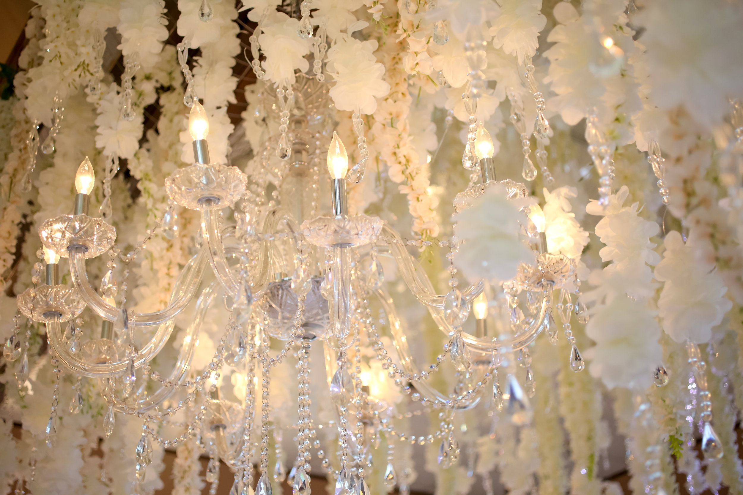 Crystal chandeliers were tucked among the flora cascading from the ceiling.