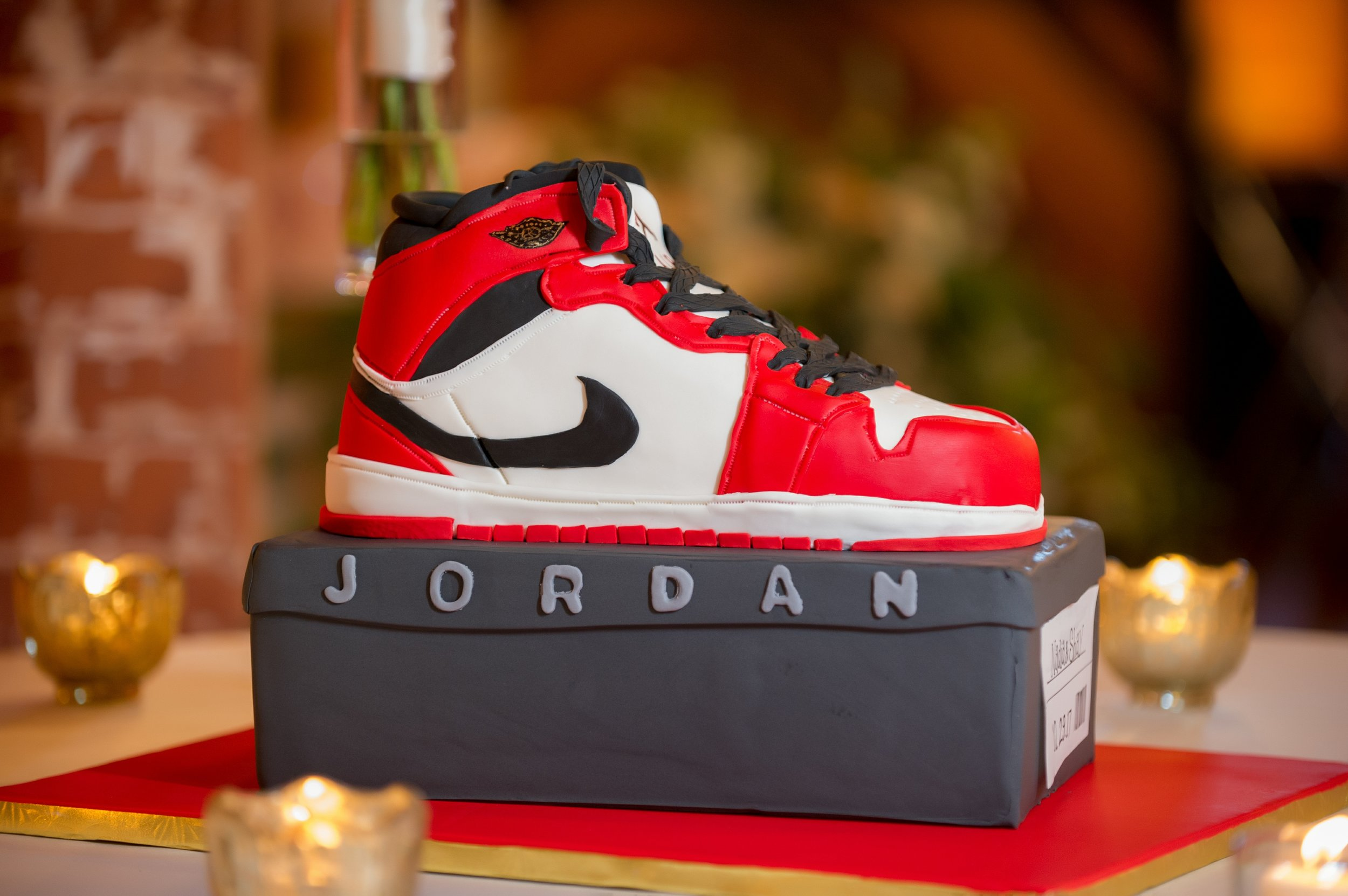A special groom's cake modeled after a favorite real life pair of Jordans belonging to the groom.