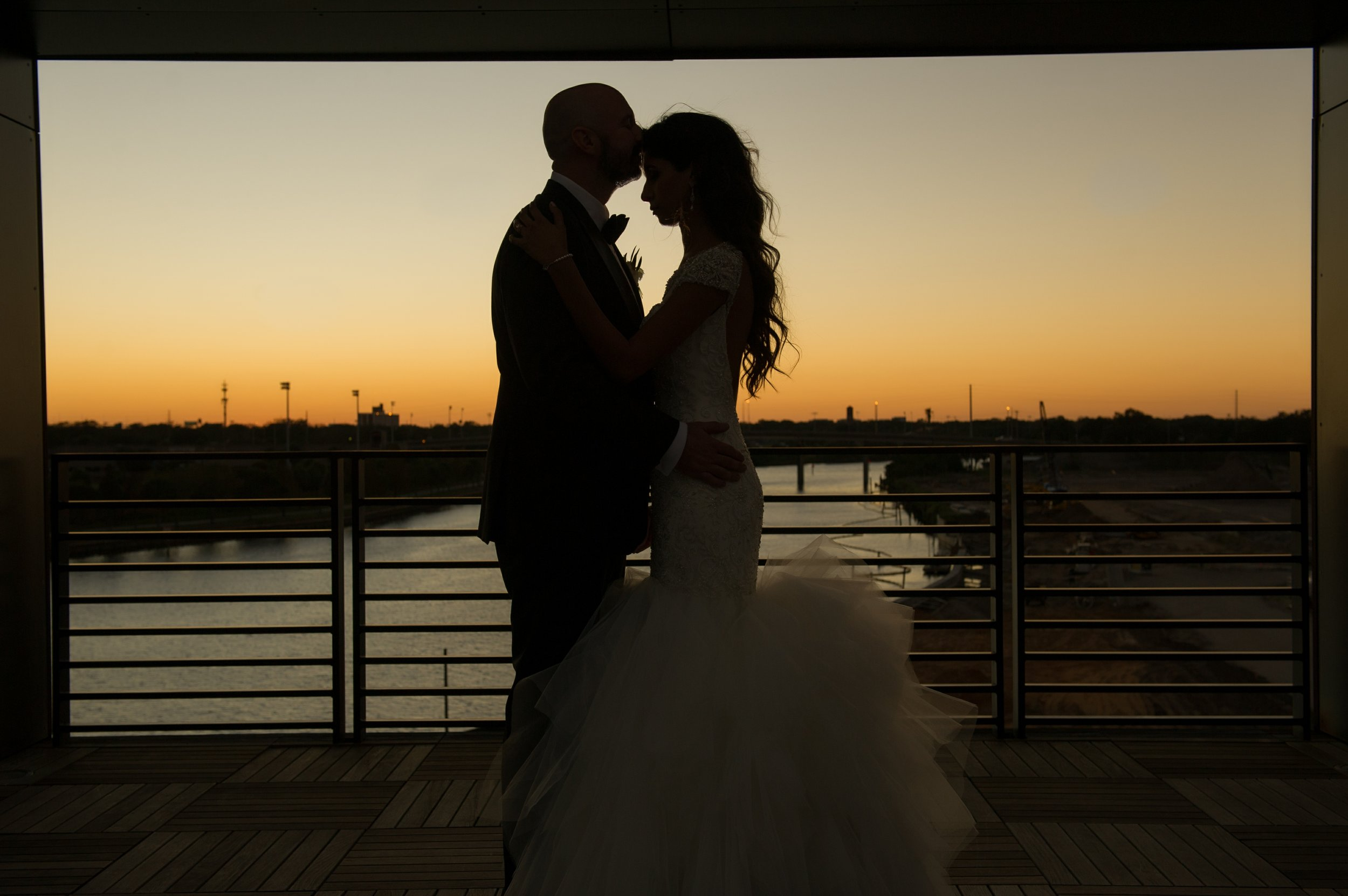 A Tampa sunset on the river provided the perfect backdrop for romantic photos.