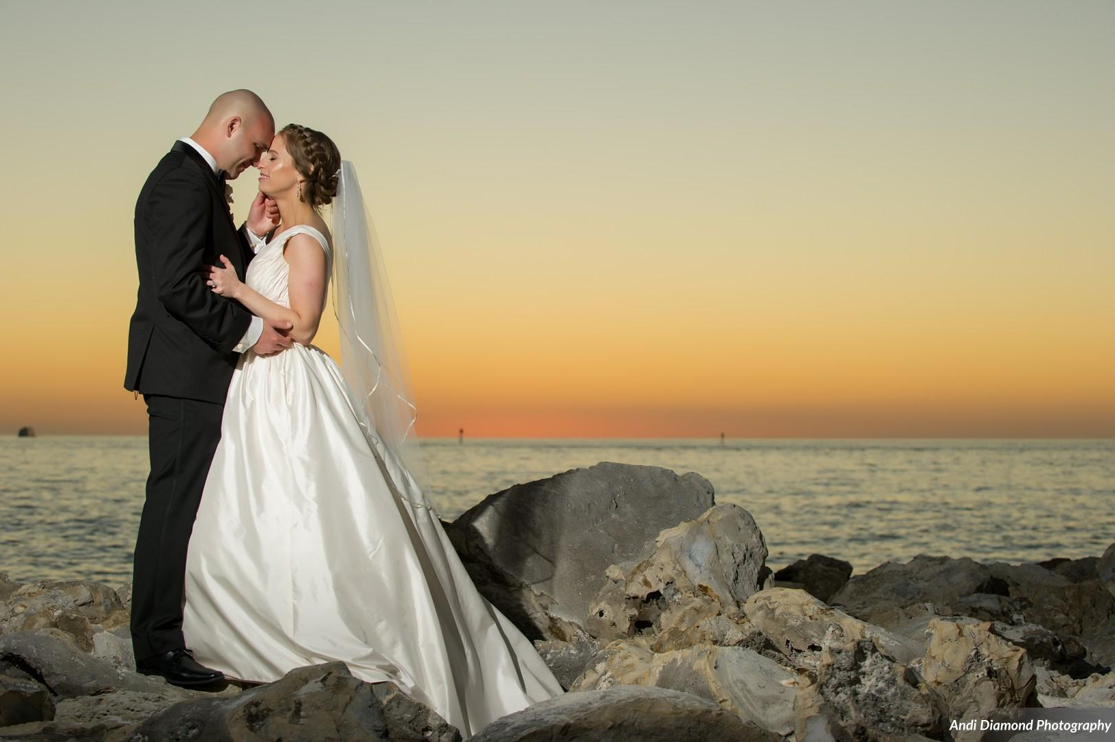 Clearwater beach and a Florida sunset provided the perfect backdrop for romantic portraits.