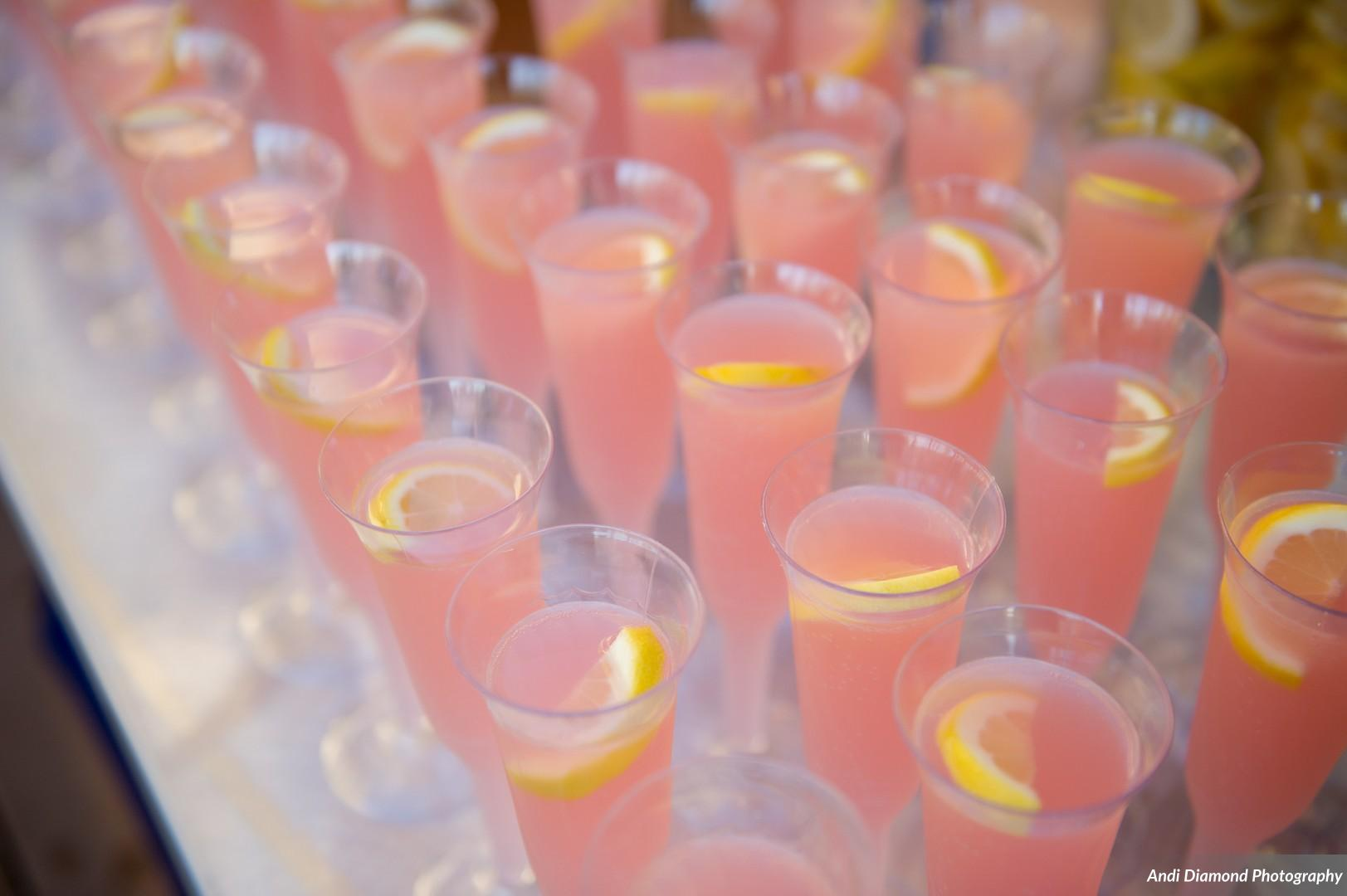 "The ""blushing bride"" champagne cocktails were served with pre-ceremony snacks."