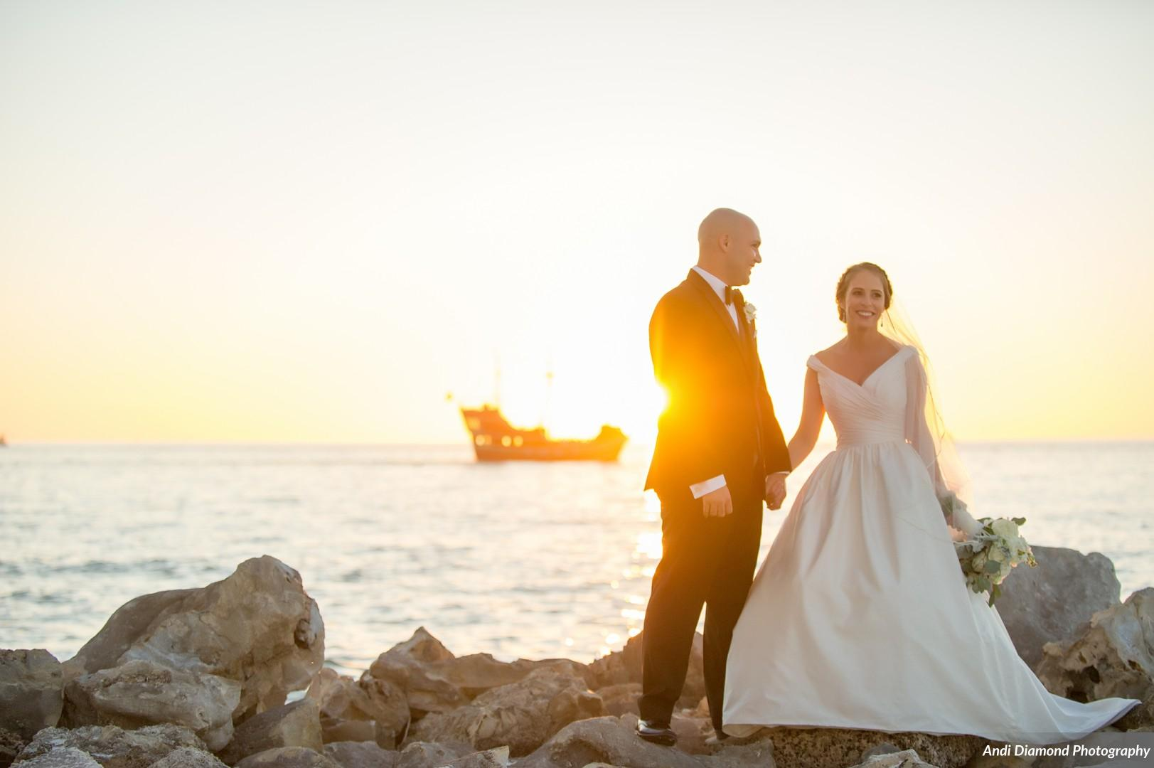 And of course no wedding photos on Clearwater Beach would be complete without the famous pirate ship at sunset!