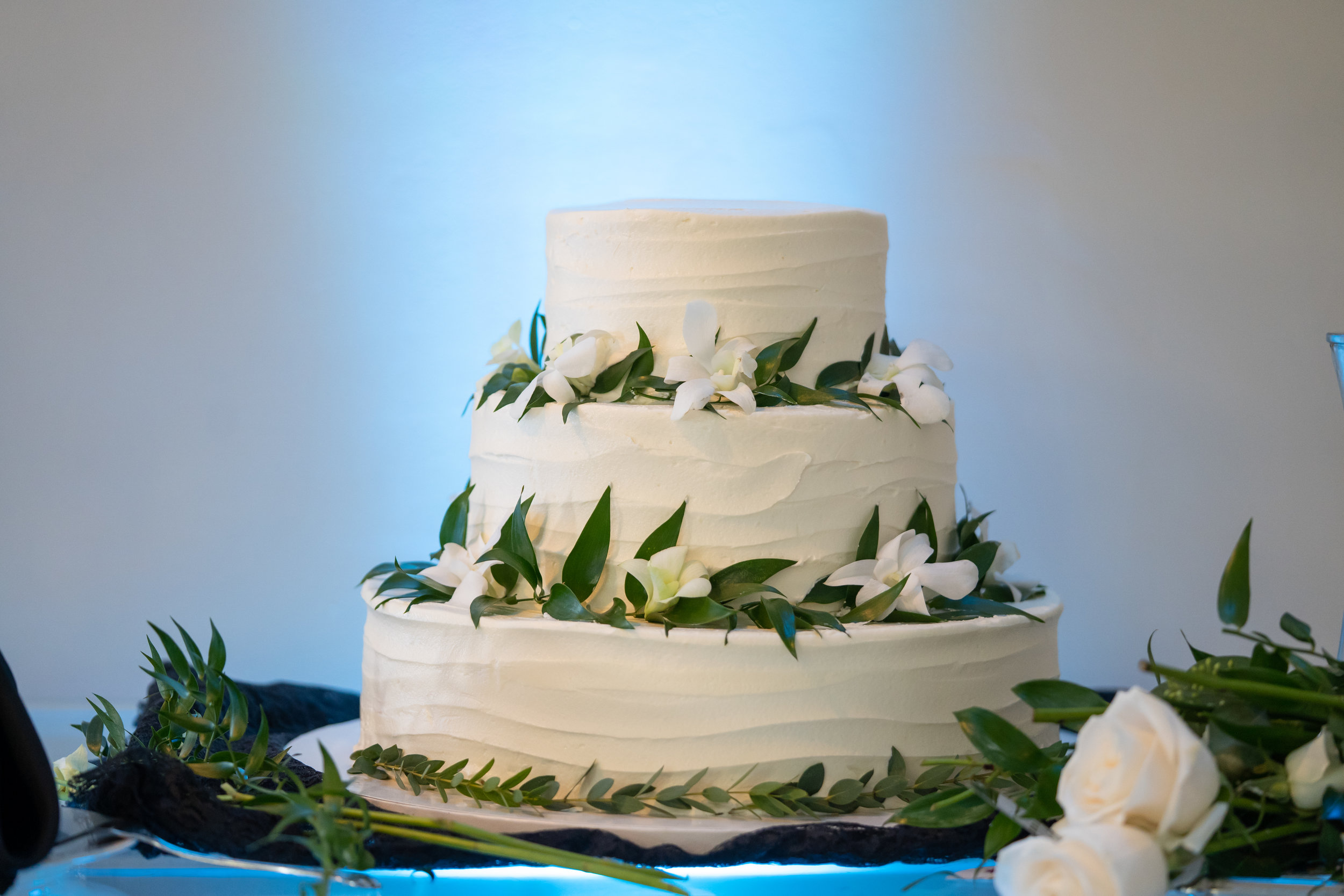 A simple and elegant three tiered cake completed the decor, adorned with delicate white orchids and more greenery.