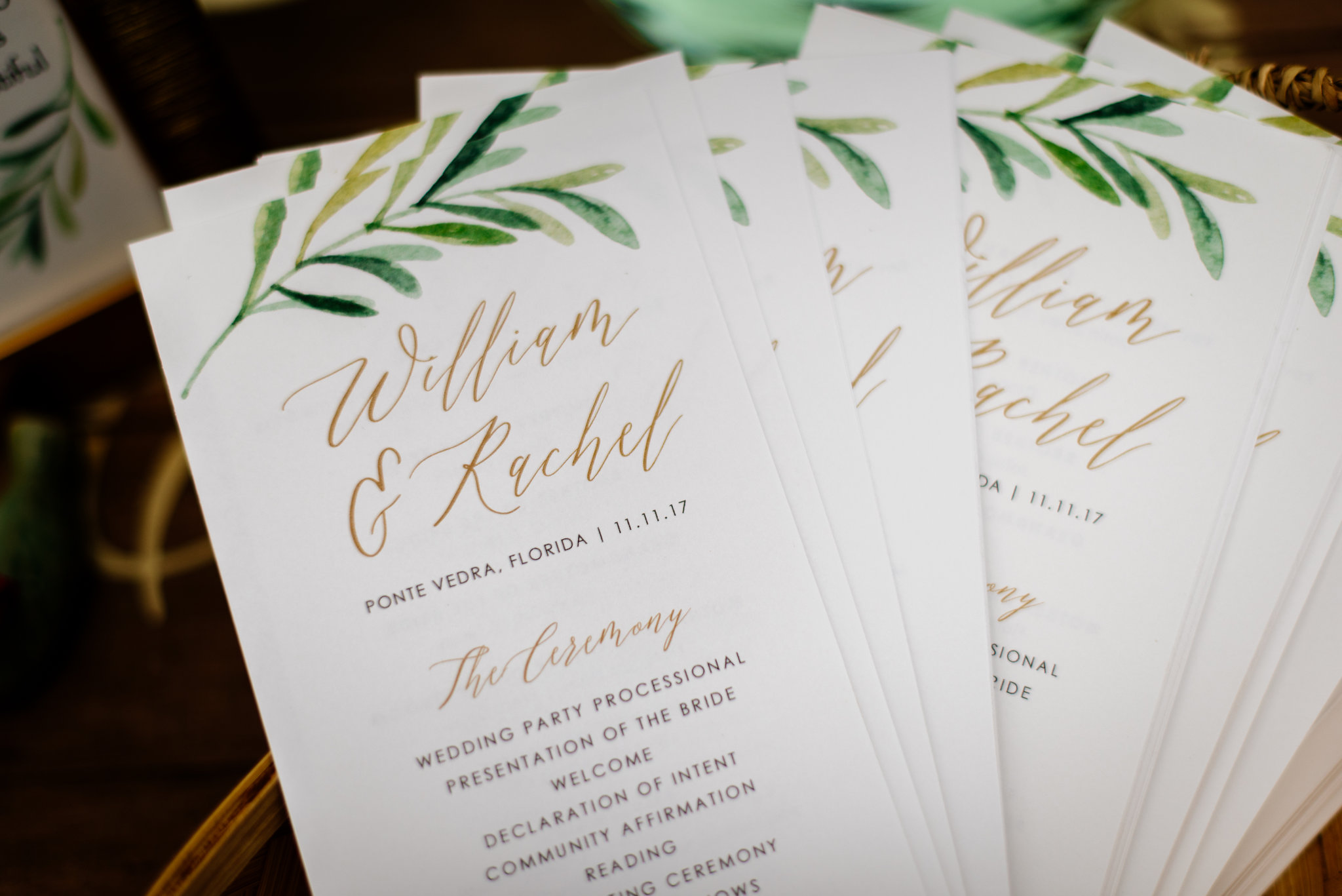 winsor event studio wedding program greenery