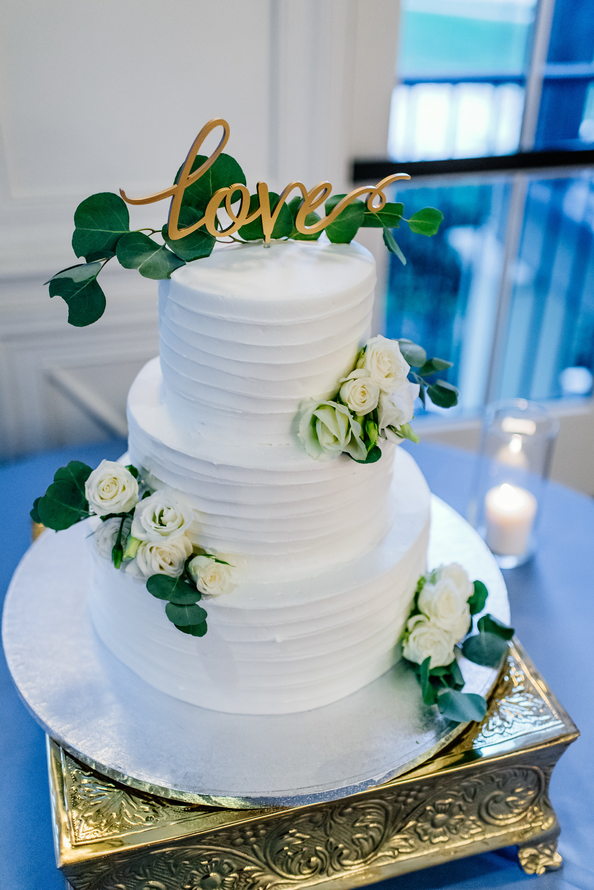 winsor event studio wedding cake greenery eucalyptus