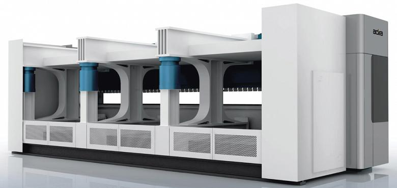 Each T-frame is part of a module that includes a hydraulic cylinder in the front and (as shown in blue) in the back.