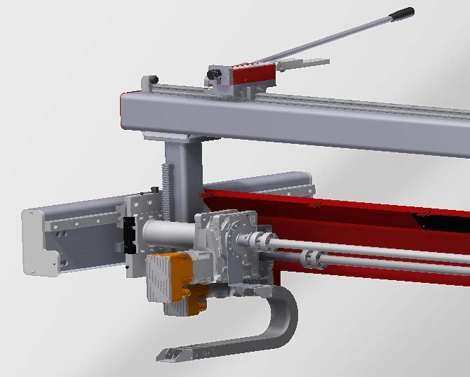 MOTORISED R AXIS - Motorised vertical axis (R axis) of back gauge, controlled by ESA servo motor, with the features described below:• High speed positioning: 130 mm/sec.• High precision recirculating ball screw guides.• Servo motor with 1 Nm torque at 5000 rpm.• Maximum displacement of axis: 150 mm.• Mechanical precision: 0.05 mm.