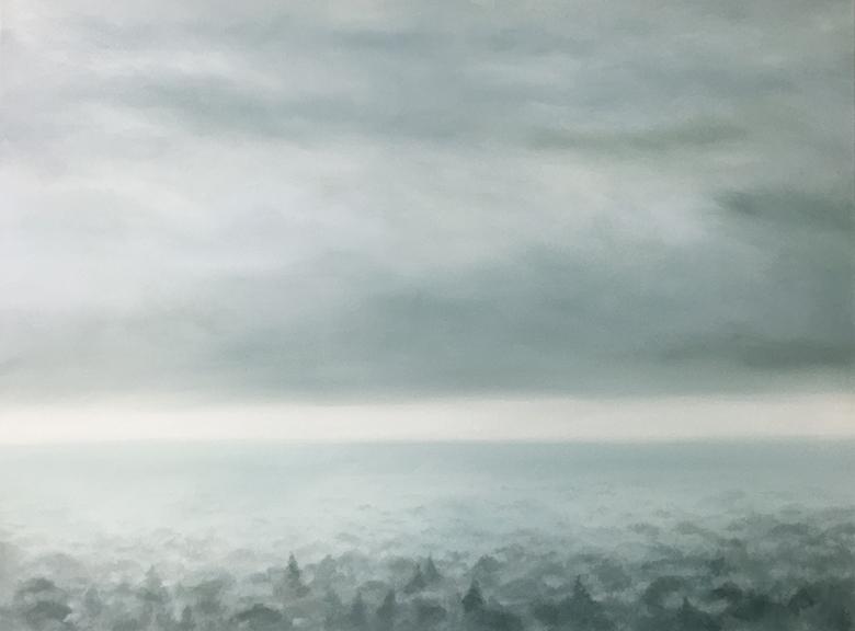 "Valley Fog, 2015 Oil on canvas, 36""x 48""  Available"
