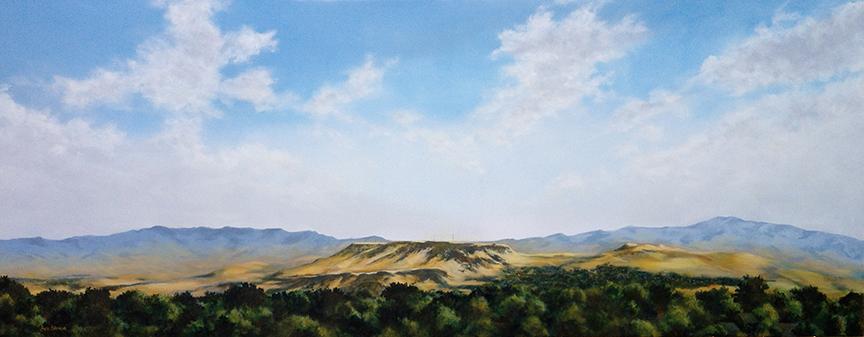 "Tablerock, 2014 Oil on canvas, 36"" x 96"" Collection, Saint Alphonsus Regional Medical Center"