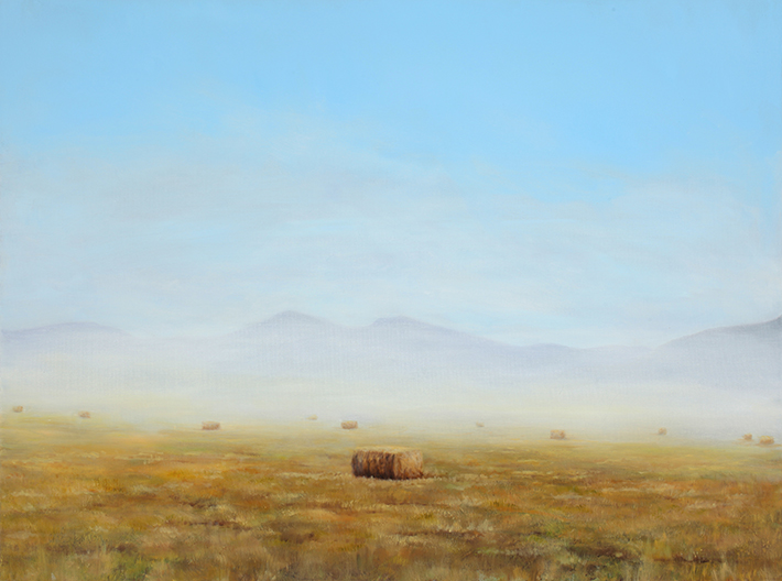 """Hay Bale in Fog , 2011 Oil on canvas, 30"""" x 40"""" Collection, Saint Alphonsus Regional Medical Center"""