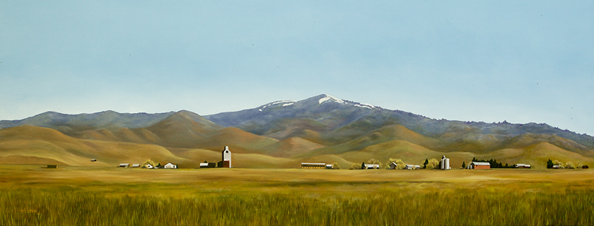 """Hill City , 2014 Oil on canvas, 36"""" x 96"""" Collection, Saint Alphonsus Regional Medical Center"""