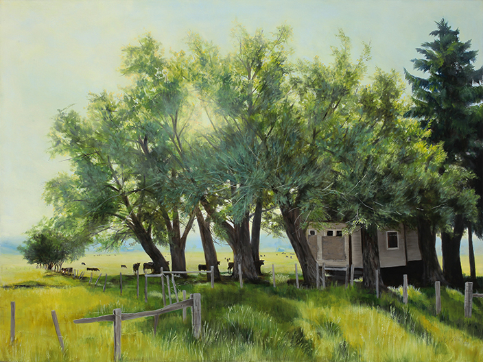 """On the Edge of Town , 2011 Oil on canvas, 30"""" x 40"""" Collection, Saint Alphonsus Regional Medical Center"""