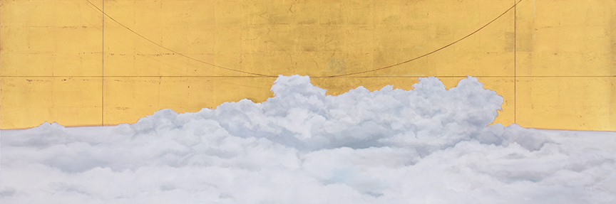 """At 30,000 feet , 2013 Gold leaf and oil on panel,24"""" x 72"""" Collection, Saint Alphonsus Regional Medical Center"""