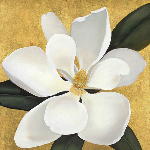 """Magnolia , 2013 Gold leaf and oil on panel,12"""" x 12"""" SOLD"""