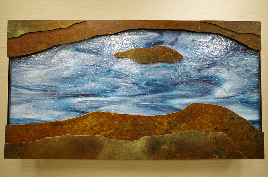 The River (detail), 2015 Stained glass and steel Collection, Saint Alphonsus Regional Medical Center
