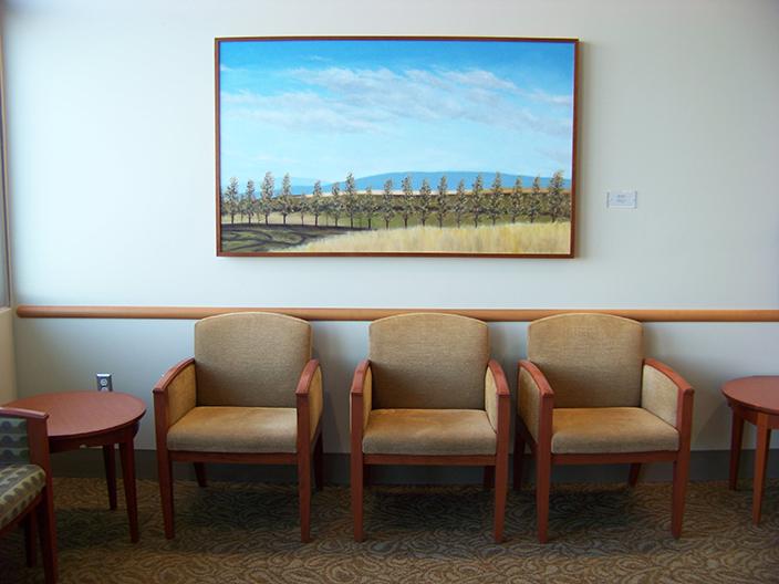 "Windbreak , 2014 Oil on panel, 30"" x 48"" Collection, Saint Alphonsus Regional Medical Center"