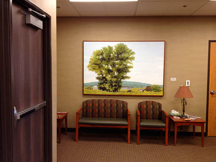 "Cottonwood , 2014 Oil on panel, 36"" x 48"" Collection, Saint Alphonsus Regional Medical Center"