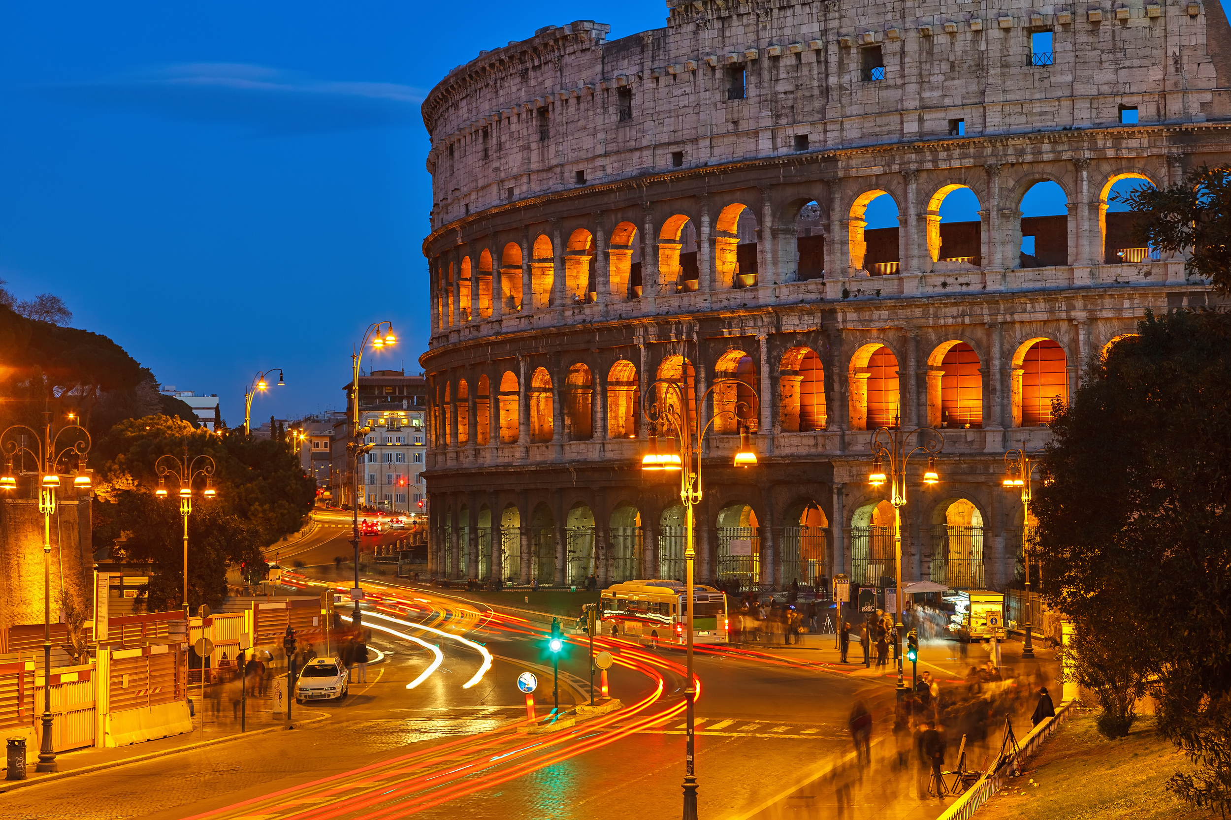 Night View of Colosseum in Rome