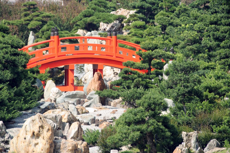 Arched Bridge in Japanese Garden