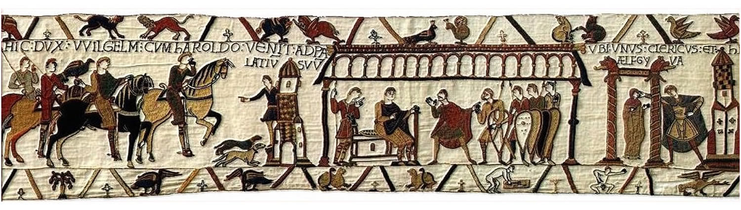 Bayeux Tapestry excerpt showing Aelfgyva (second from right)