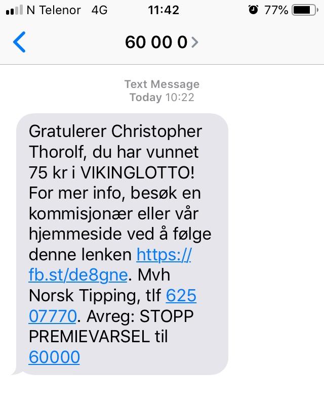 Viking Lotto text message
