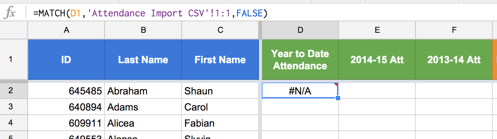 "Figure 4: A common mistake is attempting to match a search_key that is not actually in the range used in argument two. In the above case we get ""#N/A"" because ""Year to Date Attendance"", the search key, is not in the first row of the Attendance Import CSV. The key point is to be very careful that you are trying to match items that are exactly the same in the search_key and the range."
