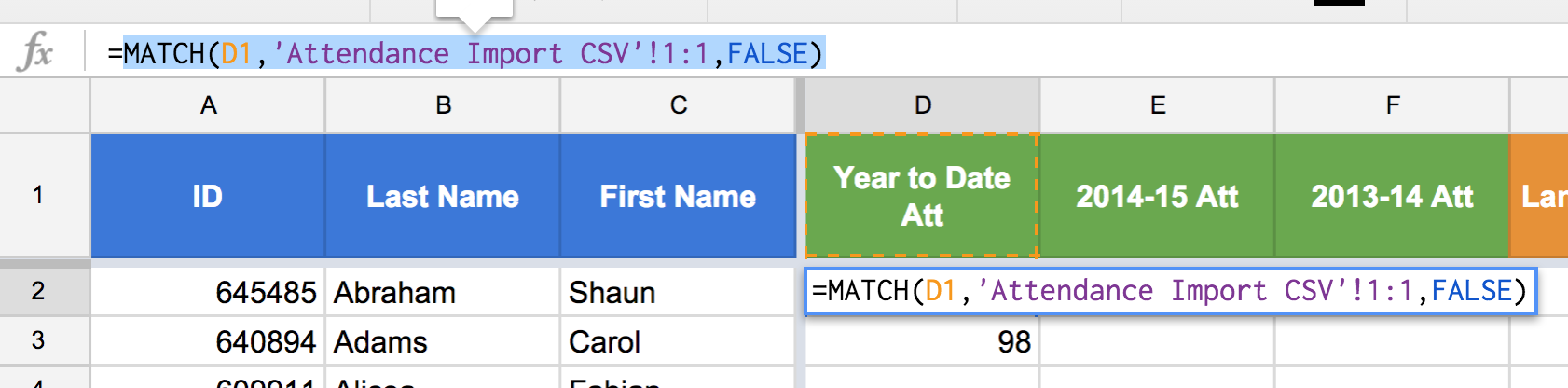 "Figure 7: Highlight the MATCH() function, without the ""="" sign. Use ctrl+C or cmd+C to copy the text of the function."