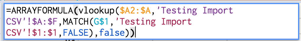 "Figure 21: Change the range arguments in the VLOOKUP() and MATCH() functions to reference the ranges containing the English Language Arts Exam data. In this case the child sheet is called ""Testing Import CSV"""