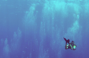 A deep sidemount scuba diver is hovering in the blue caribbean water while some bubbles from other divers are surrounding him. The diver is using nitrox that he got filled at coconut tree divers in roatan.
