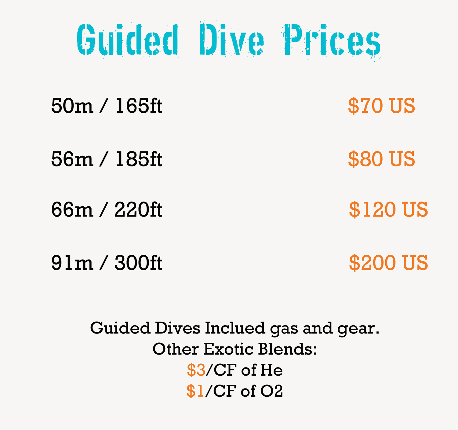 Prices for guided techncial dives with coconut tree divers boats, and nitrox filling stations.