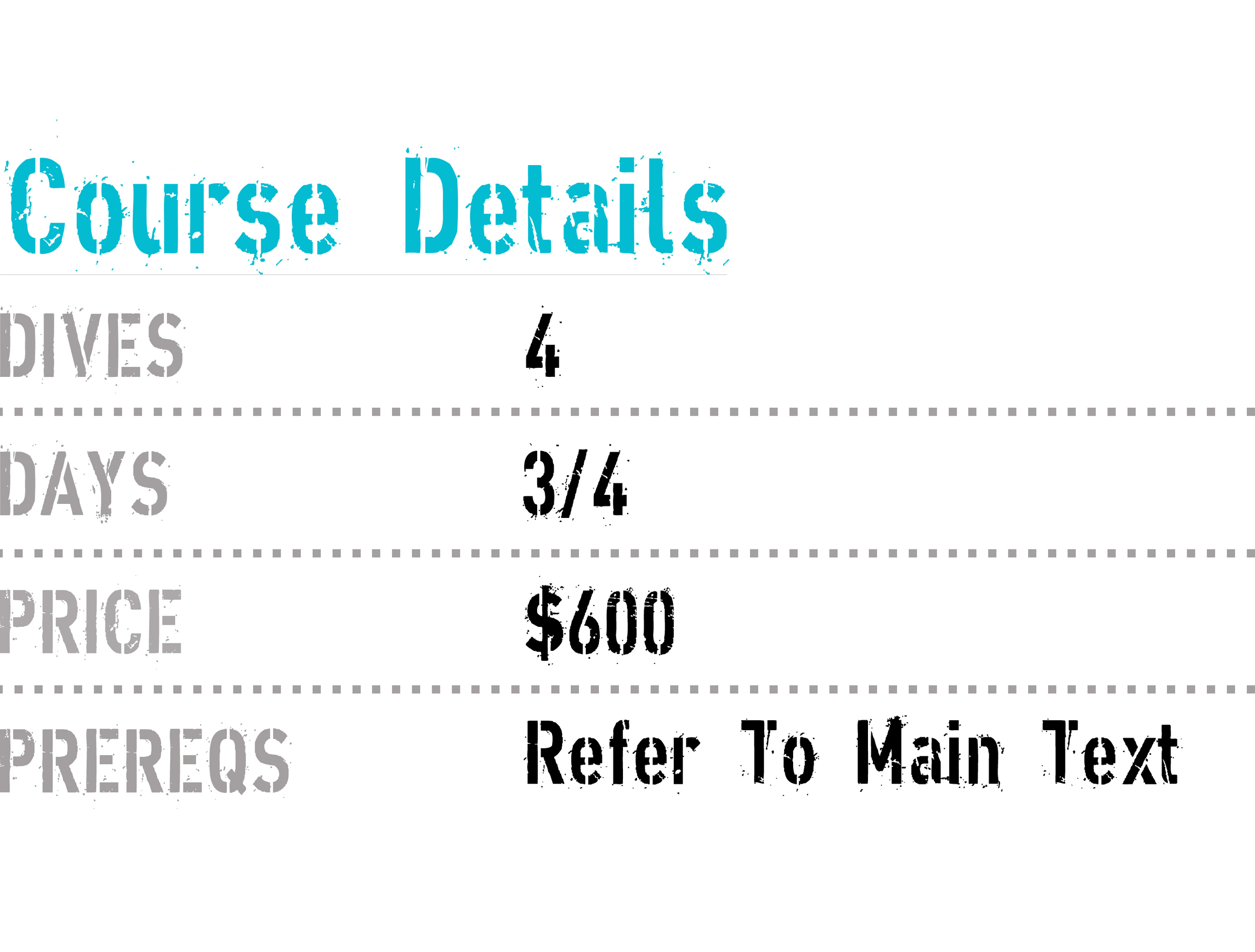 this image shows the price list for TDI extended range course with coconut tree divers and roatan tec center.