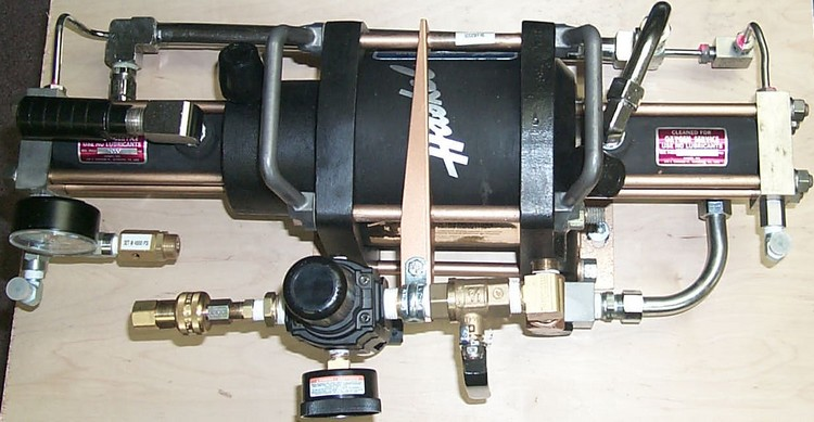 Helium and Oxygen compatible Haskel booster pump.