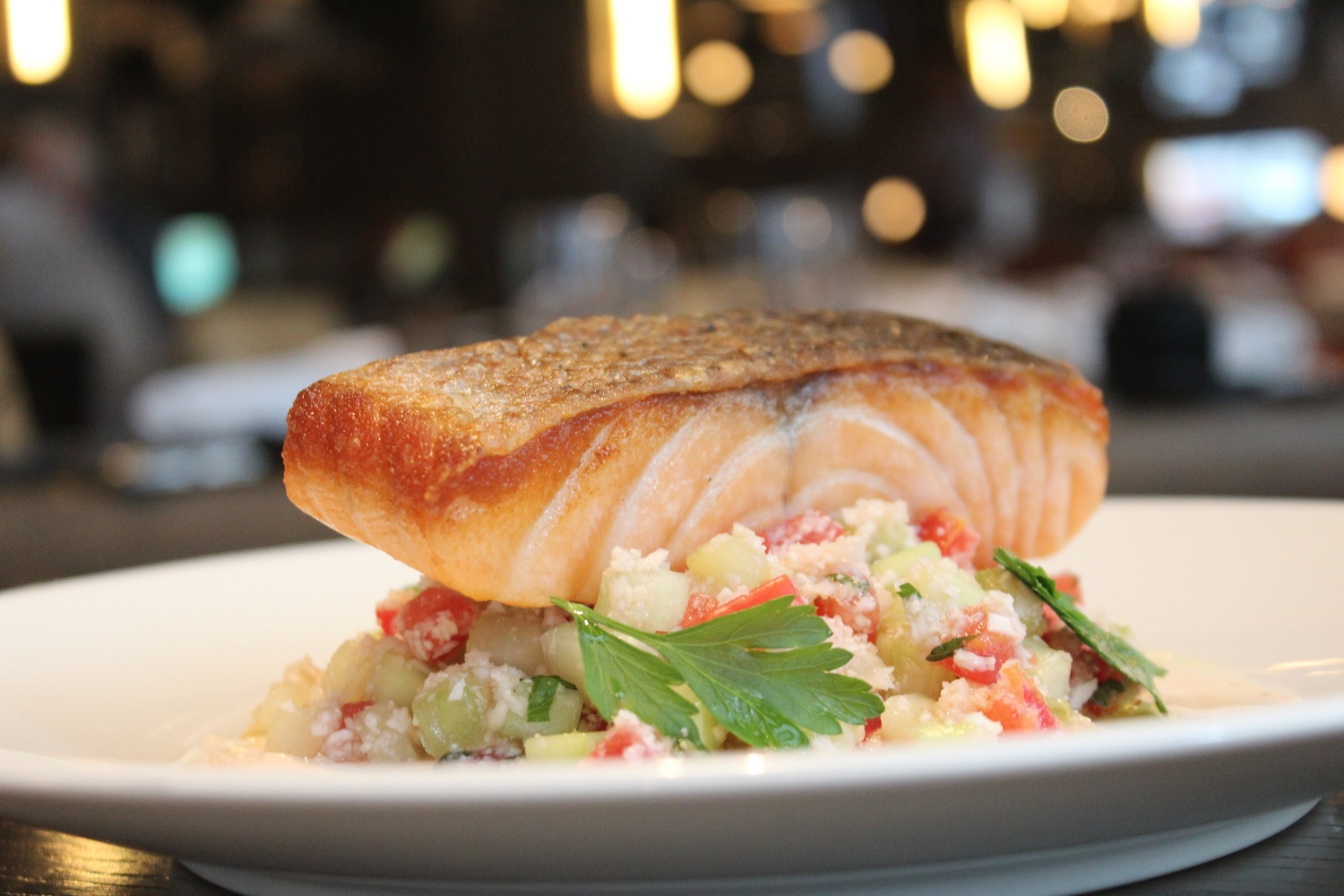 grilled salmon entree