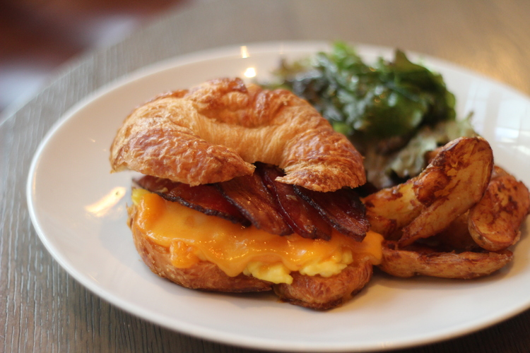 bacon egg and cheese croissant