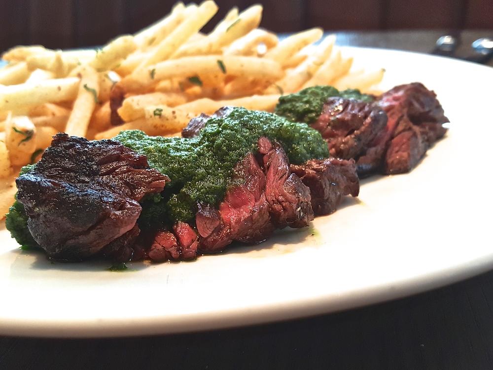 skirt steak with green salsa