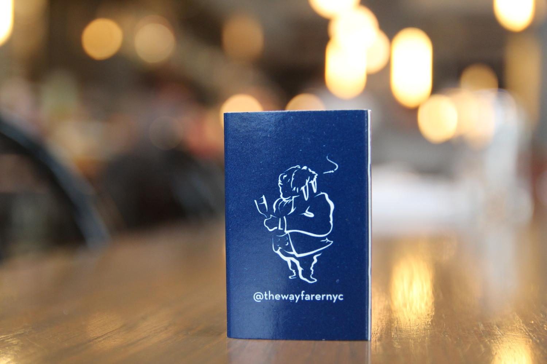 the wayfarer branded matchbook