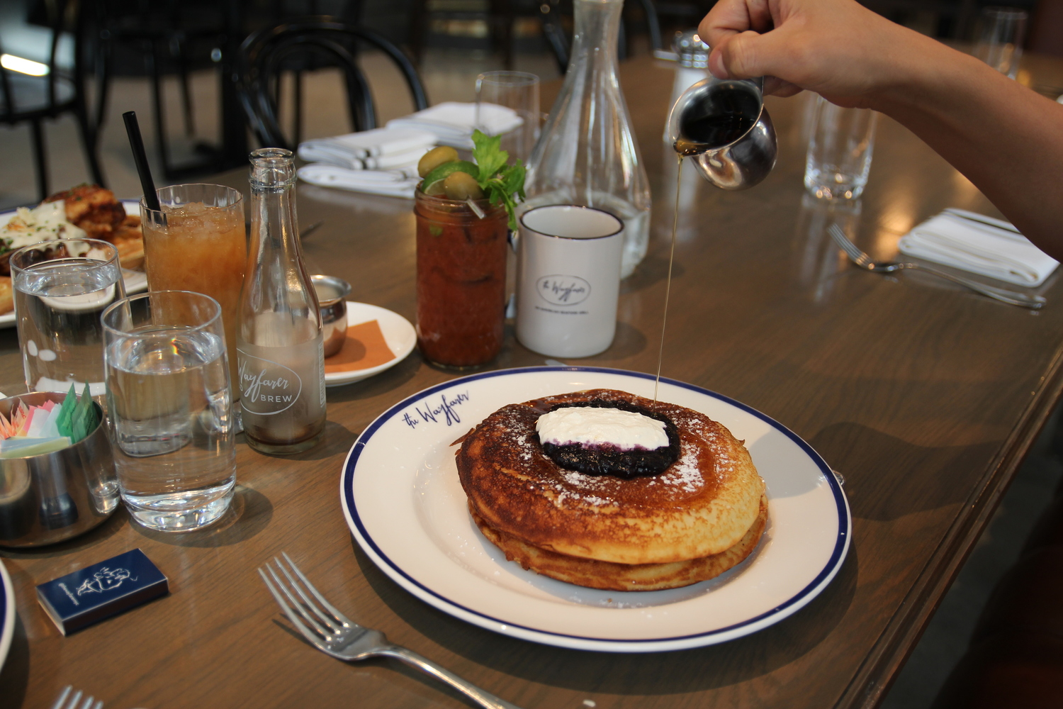 buttermilk pancakes with blueberries and ricotta