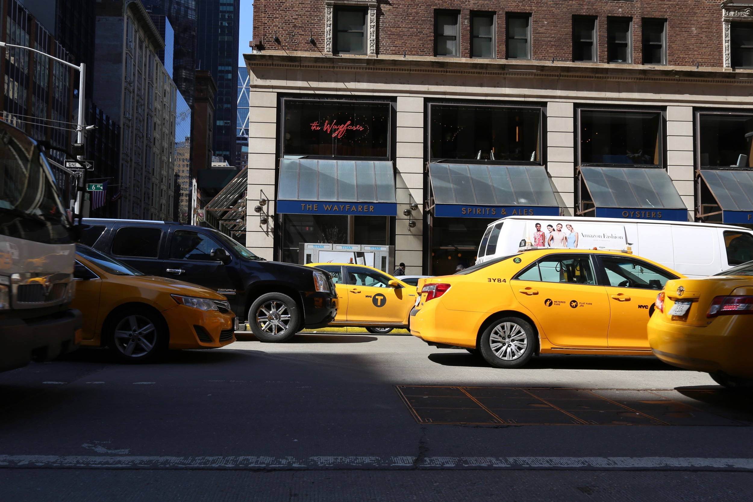 street view of the wayfarer with taxis outside