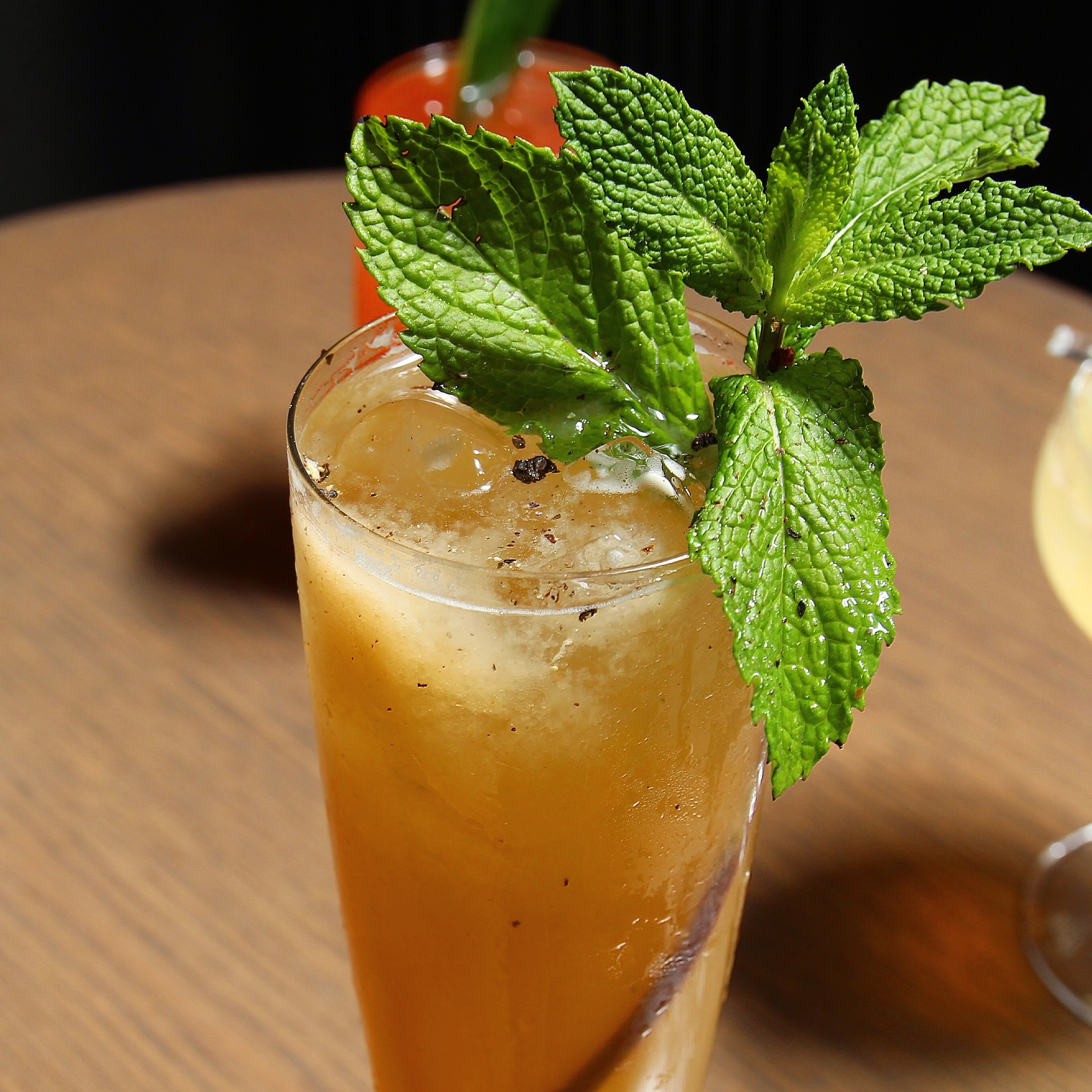 cocktail with mint sprig