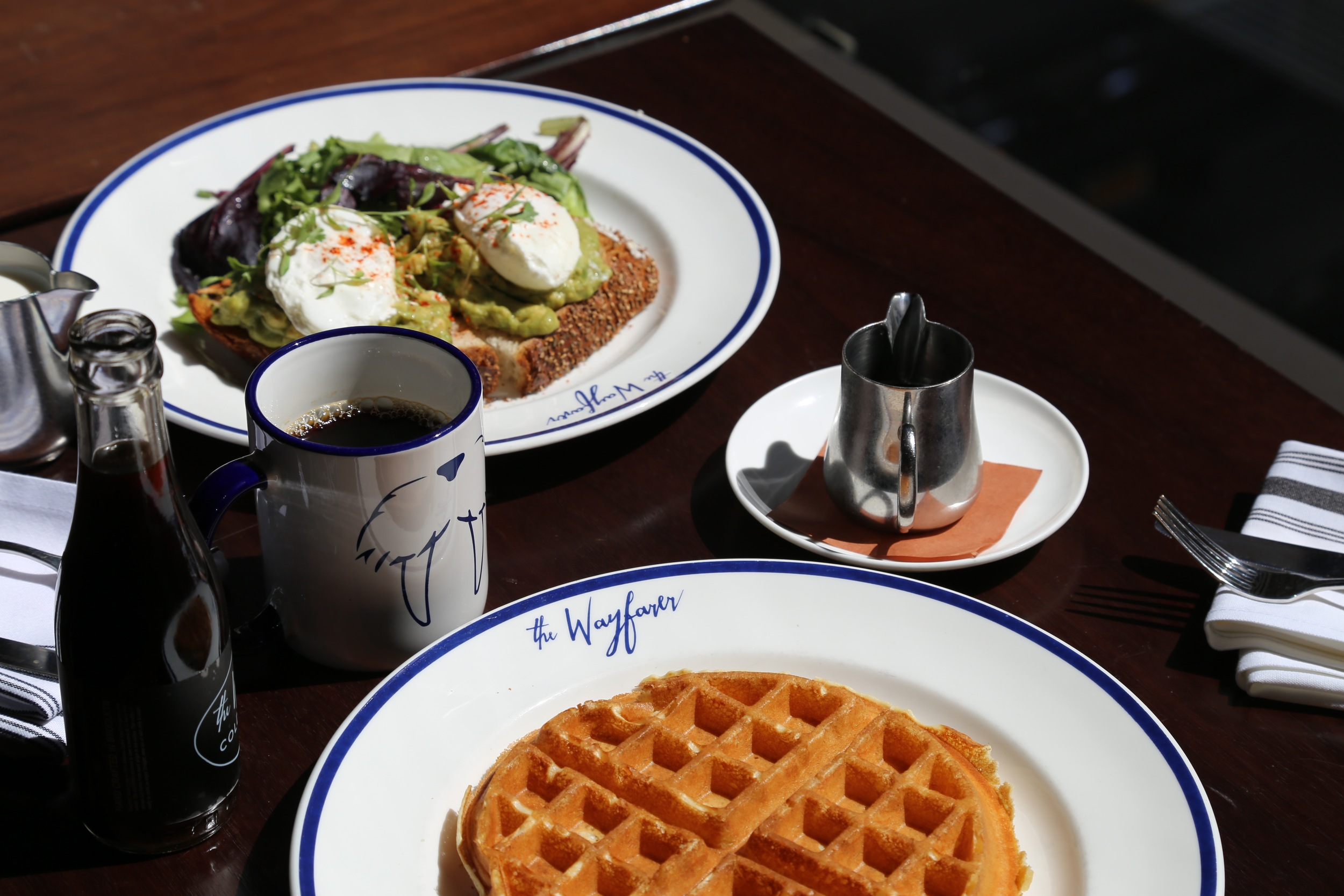 table with waffle, coffee and avocado toast