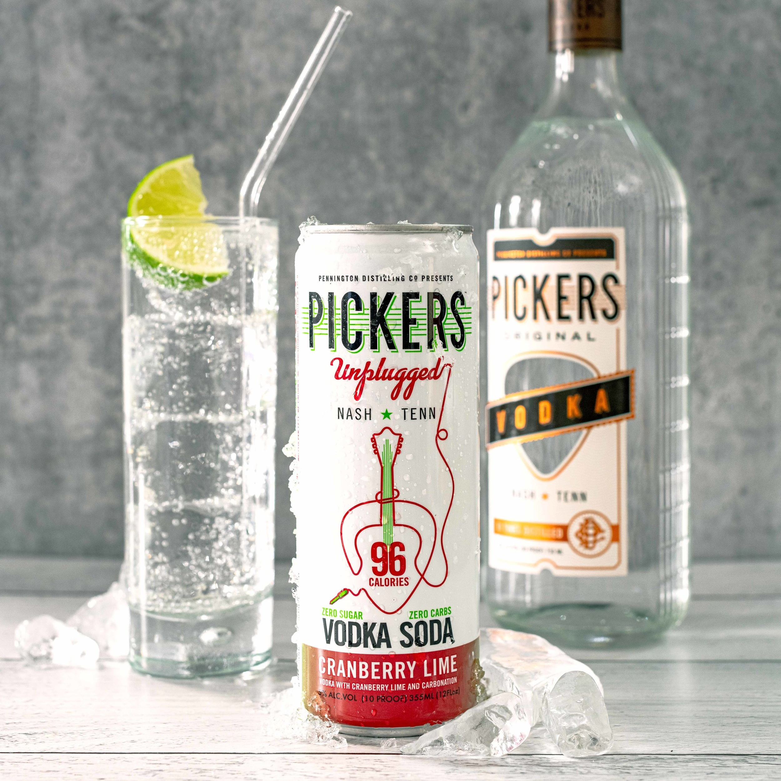 Cranberry Lime Vodka Soda - Pickers Vodka and sparkling water with a hint of natural Cranberry Lime flavor.