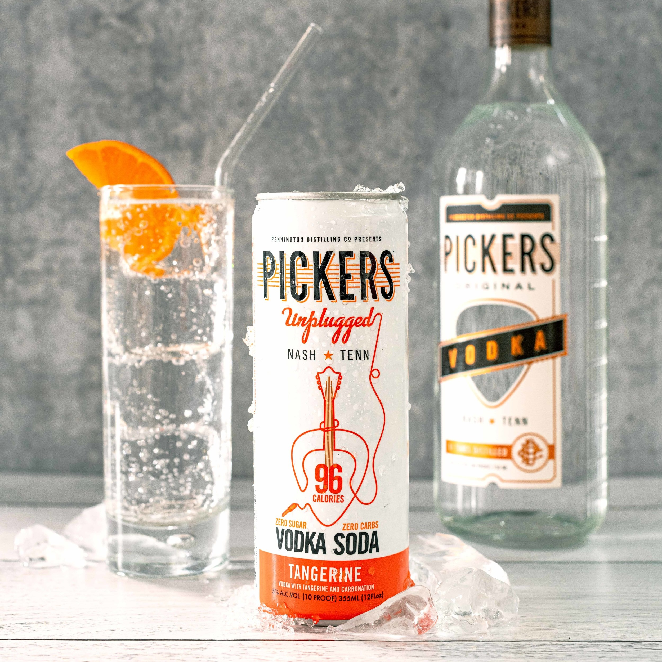 Tangerine Vodka Soda - Pickers Vodka and sparkling water with a hint of natural Tangerine flavor.