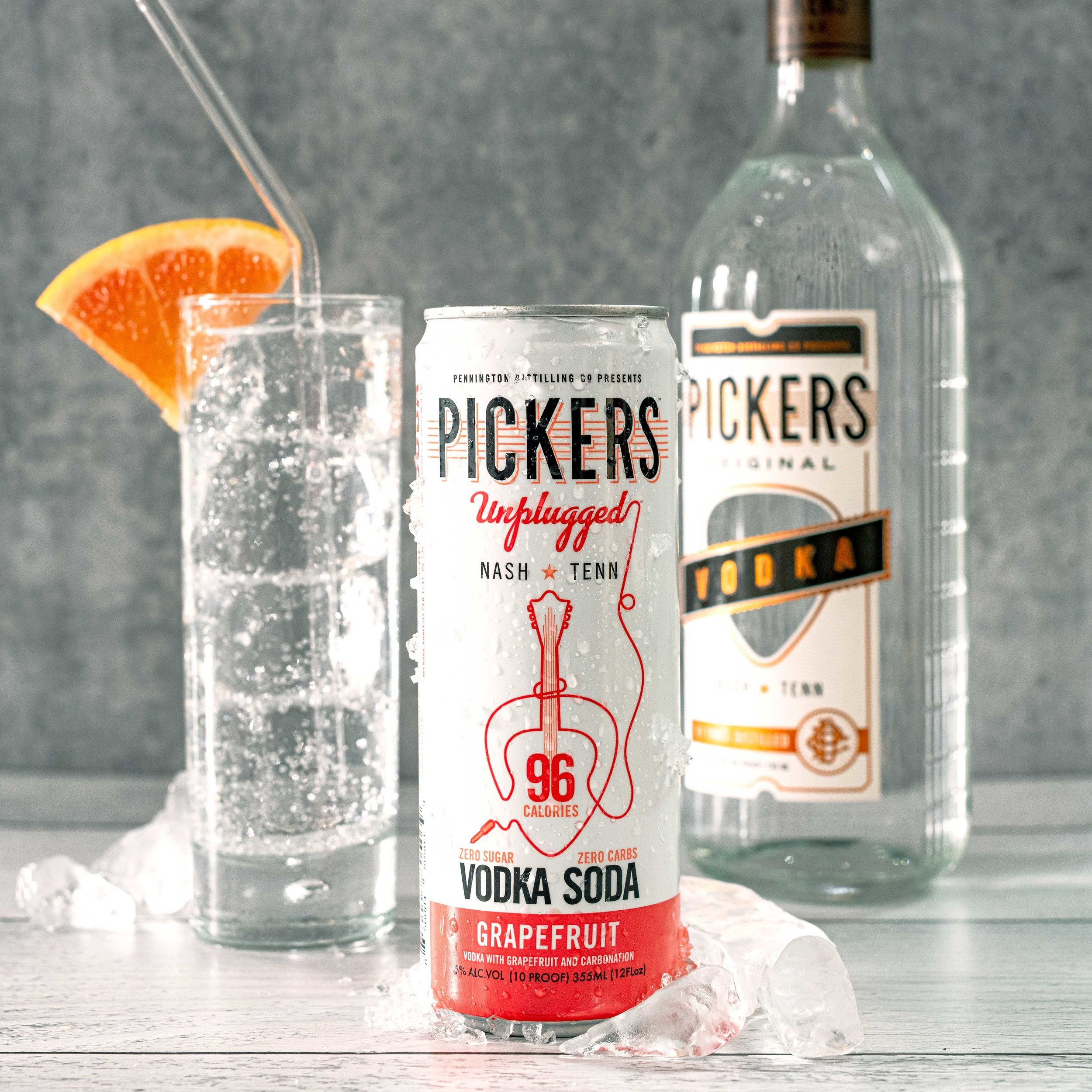 Grapefruit Vodka Soda - Pickers Vodka and sparkling water with a hint of natural Grapefruit flavor.