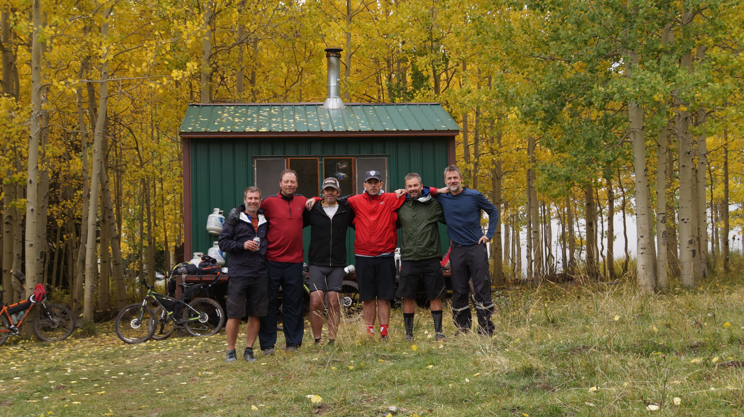 The team at our last hut at the top of the La Sal Mountains outside Moab.