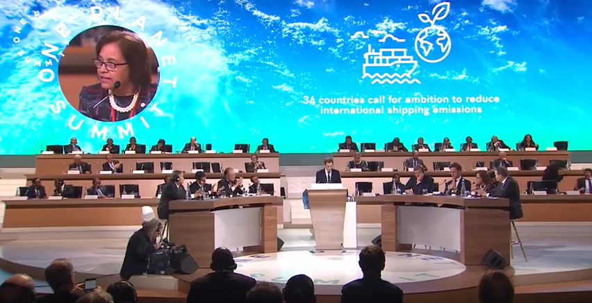 Hilda Heine, President of the Marshall Islands, presenting the Tony de Brum Declaration at the  One Planet Summit  in Paris, December 12, 2017.